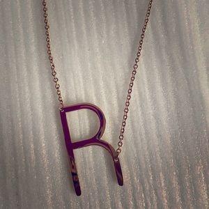 Monogram pendant necklace initial R Anthropologie